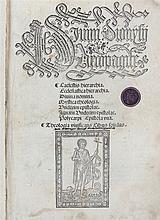 (post incunabel) Joanne Tacuinus De Tridino, Divini Dionysii Areopagite. Venice, Leonardo Lauretano, 1502. In-8°. Titelpagina, (5), 143 genum.pp. Met houtsnede op titelpagina en versiede initialen. Latere half perkamenten band met kleine hoeken over