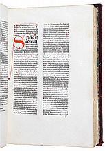 (incunabel) Juan de Torquemada (Johannes de Turrecremata), Questiones evangeliorum de tempore et de sanctis. S.l.s.n. (Basel, Auerbach, (niet na 1481)). In-2°. (7), 196ff. Tekst op twee kolommen, rood gerubriceerd doorheen het werk. 19de eeuwse