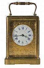 Travel officer clock. Gilt brass. Enamel dial, signed 'Boursier élève de Lepaute à Paris'. With English legend. Dated 'February 1849'. Gift from the German operatic soprano, duchess Henriette Sontag (after her marriage Countess Rossi) to her