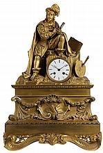 Mantel clock. Firegilt bronze. Enamel dial set in a rock surmounted by a 17th century painter above a high plinth decorated with foliage, cartouche with palette and scollwork. Louis Philippe period.