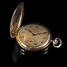 Pocket watch Unitas with monogram. Yellow gold (750/1000), 72 g brut.