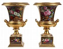 Pair of 'campana'-vases. Parcel gilt Old Paris porcelain on burgundy ground. The body and foot painted with a flower basket on a stone slab to the front and a flower bouquet to the back. Two handles terminating in a couple of ram's heads. Circa 1830.
