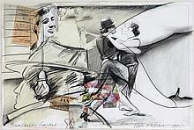 JAN VANRIET(1948) Collage, watercolour, black pencil and charcoal. Sig