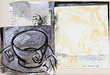 JAN VAN RIET(1948) Collage, charcoal, watercolour, gouache and black p