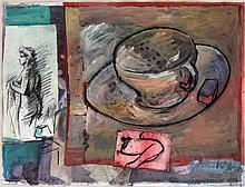 JAN VAN RIET(1948) Collage, watercolour, gouache, charcoal and colour