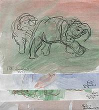 RONALD DE WINTER(1956) Four elephants. Crayon and watercolour. All sig