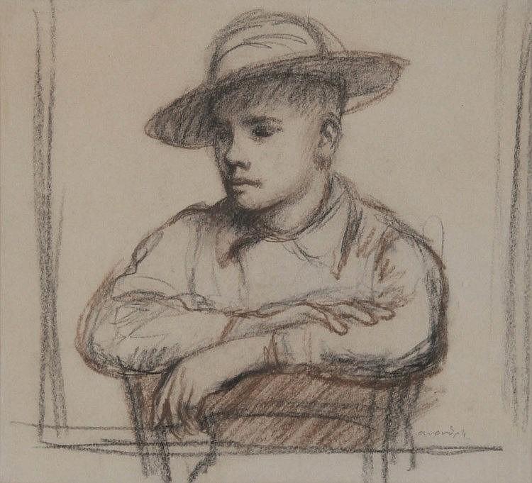 ALBERT VAN DIJCK (1902-1951)Boer met hoed. Houtskool, gehoogd met bruin.Getekend 'avandijck'. In kader.Diverse tent.etiketten op verso.240 x 260 mm