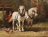 EDMOND DE PRATERE (1826 - 1888) Chevaux à