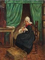 LUCIEN STUYTS (1879 - 1962) Herderin in interieur.