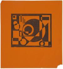 KAREL MAES (1900-1974) Zonder titel (1921). Linosnede op fijn oranje papier. Gemonogrammeerd en gedateerd in het blok 'km/ 21'. Volledige marges, hoekje rechts onderaan afgescheurd. De prent verscheen ook in het tijdschriftje 'Herleving', 3e jaargang, nr.2 (1922). Met annotatie op verso: 'Proef'. Provenance: Emiel Maeyens (vermoedelijk). 140 x 170/ 282 x 257 mm (blad/ sheet) Lit.: S. Servellon, Karel Maes 1900 - 1974. Drogenbos 2007, p. 200, ill.