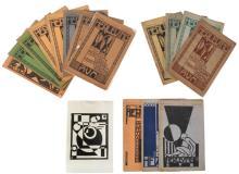 KAREL MAES (1900-1974) Zonder titel (1921). Linosnede. Gemonogrameerd en gedateerd in de plaat 'km/ 21'. De prent verscheen ook in het tijdschriftje 'Herleving', 3e jaargang, nr.2 (1922), samen met nog ander grafisch werk van Karel Maes. Bijgevoegd: 14 afl. van het tijdschrift 'Herleving', waaronder het 'Maes'-nummer. In dat bewuste nummer wordt een korte recensie aangehaald van E.L.T. Mesens uit het tijdschrift 'Ter Waarheid', verschenen naar aanleiding van publicatie in een vorig nummer van 'Herleving'.