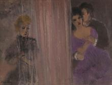 ALICE FREY (1895-1981) De gestolen kus, 1954. Doek. Getekend 'Al