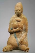 Jaina Ceramic Efiigy Whistle of a Seated Woman