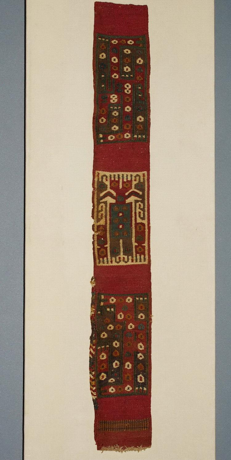 Wari Headband Decorated With Central Staff Bearing Figure Flanked by Interlocking Serpents