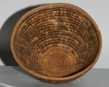 Chilean Flared Basket with Tapered Base and Foot and Decorated with Fret Design
