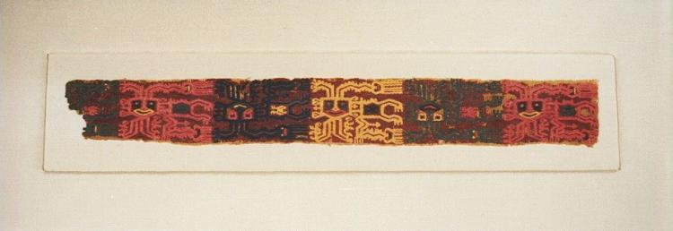 Pre Columbian Paracas Embroidered Border with Five Occulate Beings in Alternating Colors and Orientation