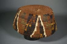 Small Inca Fez Style Hat with Stepped-Roll Design in Browns, Green, Tan and White