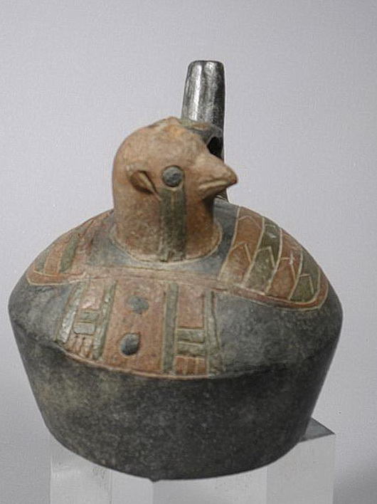 Paracas Effigy Vessel of a  Falcon Looking Sideways