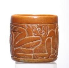 Mayan Orangeware Vessel with a Band of Two Seated Monkeys in Relief