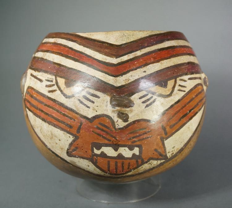Nazca Ceramic Bowl in the form of a Puma Head Wearing a Mouth Mask