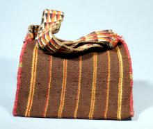 Pre-Inca Coca Bag from Chile with Orange and Red Stripes on Brown Ground with Strap
