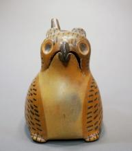 Wari Single Spout Owl Effigy Vessel in Tan with Black Feather Details