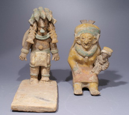Pre Columbian Jamacoaque Platform with Priest and Woman Holding a Small Figure
