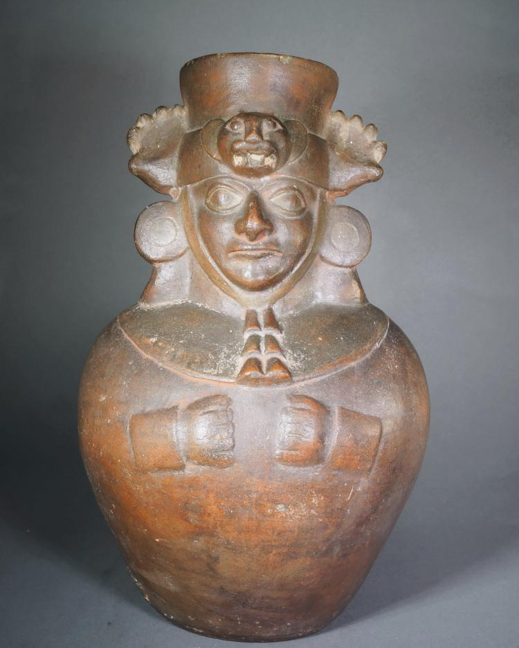 Pre Columbian Moche III/IV Redware Mold Made Jar Depicting a Dignitary