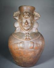 Moche III/IV Redware Mold Made Jar Depicting a Dignitary