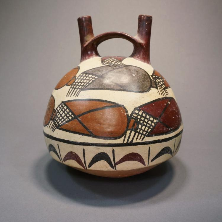 Nazca Double-spout Bridge Handle Vessel with Colorful Corn Motif