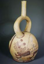 Moche 4 Stirrup Spout Vessel painted with a Strombus Monster on each Side