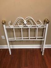 Pair of White Wrought Iron & Brass Twin Headboards
