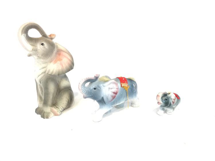 Tall Grey Elephant & Momma & baby Circus Elephant Figurines