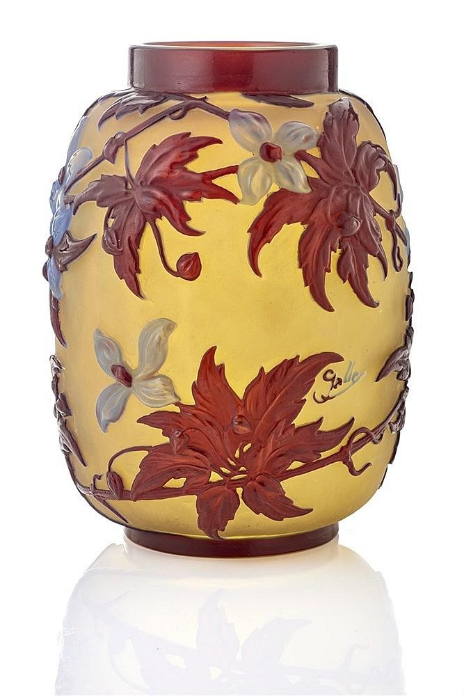 emile gall 1846 1904 vase de forme cylindrique col ras en. Black Bedroom Furniture Sets. Home Design Ideas
