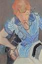 Arthur VAN HECKE 1924-2003 LA REPASSEUSE Huile sur, Arthur