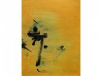 Nasser ASSAR, né en 1928 Composition fond jaune, 1962 Huile sur toile signée et datée en bas à gauche 81 x 65