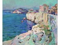 Jean AUBERY, né en 1880 Marseille, La Corniche Huile sur toile signée en bas à droite 60 x 73