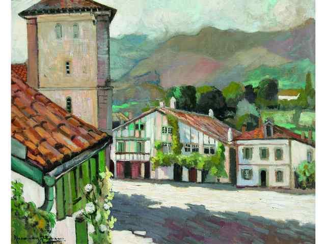 Alexandre ALTMANN 1885-1934  Paysage basque  Huile sur toile signée en bas à gauche  81 x 100
