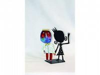 Christophe JEHAN, né en 1961 Le roi et la reine Sculpture en métal signée Hauteur : 31 cm