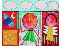 Christophe JEHAN, né en 1961 Dans les nuages Huile sur toile signée en haut à droite 80 x 100