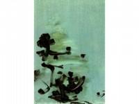 Nasser ASSAR, né en 1928 Composition fond bleu, 1962 Huile sur toile signée en bas à gauche 116 x 73