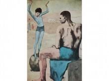 D'après Pablo PICASSO 1881-1973  Jeune fille en bleu sur une boule   Estampe   16 x 11