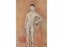 D'après Pablo PICASSO 1881-1973  Jeune homme nu  Estampe signée en bas à droite  23,5 x 15,5