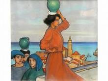 Ramón Antonio PICHOT GIRONES 1872-1925 La porteuse d'eau Pastel sur papier signé en bas à droite A vue 43 x 47