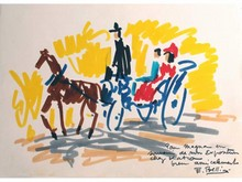 Emmanuel BELLINI 1904-1989  Calèche  Feutre signé et dédicacé en bas à droite sur papier canson   25 x 34