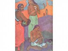 Paul GAUGUIN 1848-1903  Deux femmes regardant une femme donnant le sein à un enfant  Estampe  23 x 17