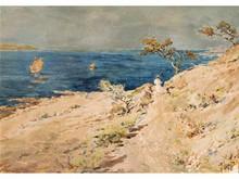 René LEVERD 1872-1938  Régates en Méditerrannée  Aquarelle signée en bas à droite  47 x 68