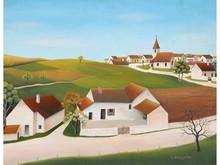 Robert BROUSSOLE, né en 1931  Le village  Huile sur toile signée en bas à droite  33 x 41