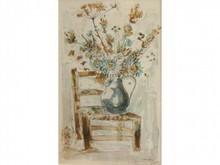 * STEINLEN  Nature morte à la chaise et aux fleurs  Lithographie signée et dédicacée en bas à droite  54 x 35