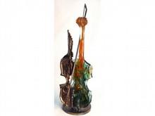 Yves LOHE, né en 1947  LES VIOLONS  Bronze et pâte de verre signé sur la terrasse  Hauteur : 62 cm